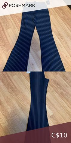 Flared Navy Pinstripe Pants Very soft. Feel like yoga pants but they look dressy. High rise. Flare. BNWT. Forever 21 Pants & Jumpsuits Boot Cut & Flare Striped Flare Pants, Cropped Flare Pants, Pinstripe Pants, White Pants, Wide Leg Pants, Red Dress Pants, Boho Pants, Blazer Dress, Gray Dress