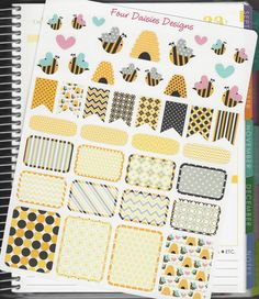 43 Honey Bee Themed Stickers for Erin Condren Life Planner, Plum Paper, Filofax or Kiki K Planners, Calendars or Scrapbooks by FourDaisiesDesigns on Etsy