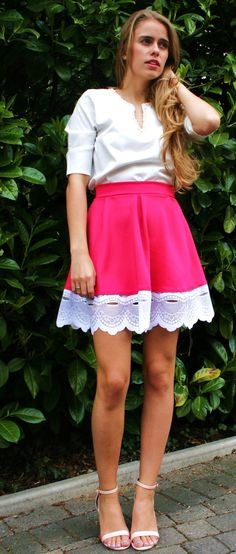 SALE  VIOLET hot pink mini skater skirt with WHITE by EthelandMo