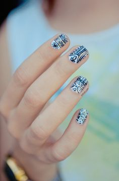 tribal nails-I could never paint that on myself. I can't even paint my own nails without getting it all over my hand.