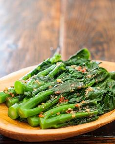 Chinese Broccoli (gai lan) with Garlicky Ginger Miso - a simple, tasty Chinese side dish recipe that is easy to make, low carb and bursting with flavor from garlic, ginger and sesame oil! #healthyrecipes, #sidedish