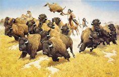 Buffalo hunters Native Indian, Native Art, Native American Art, American Artists, American Indians, Buffalo Art, Portland House, Indian Artwork, Indigenous Tribes
