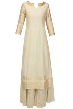 Off white and gold lace kurta and flared pants set available only at Pernia's Pop Up Shop.