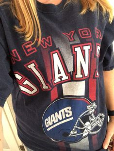 Vintage 90s New York Giants T-Shirt NFL Navy Pro Player Size L. Team Wear 58b48d670