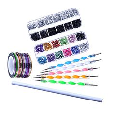 eBoot Nail Art Kit Decoration Set with Picker Pencil 2 Boxes Nail Rhinestones 5 Dotting Pens 30 Nail Striping Tape -- Find out more about the great product at the image link.