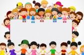 Illustration of Cute happy cartoon kids vector art, clipart and stock vectors. Happy Children's Day, Happy Kids, Happy Cartoon, Cartoon Kids, Blank Sign, School Frame, School Clipart, Kids Vector, Free Vector Illustration