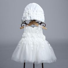 WHITE FLORAL TASSELS BOWKNOT GIRLS PRINCESS DRESS WITH HAT