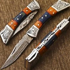 FABULOUS HAND MADE DAMASCUS POCKET FOLDING KNIFE - BACK LOCK - M-03 in Collectibles, Knives, Swords & Blades, Folding Knives | eBay