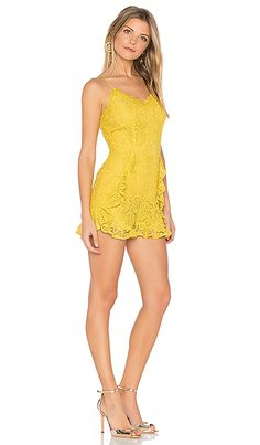 473dbd1e20b Shop for J.O.A. Frill Bottom Detail Lace Romper in Yellow at REVOLVE. Free  2-
