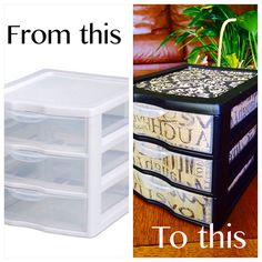 DIY plastic drawer makeover. Because being ordinary is no fun! This craft is great for hiding those ugly plastic storage drawers. Just Mod Podge scrapbook paper and spray paint the white (I used chalkboard paint for mine).