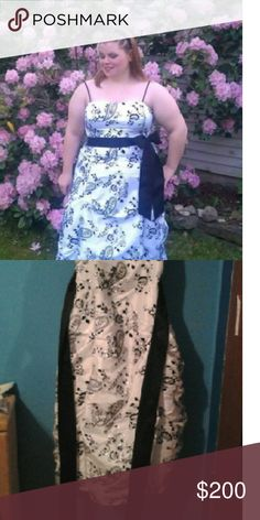Morgan & Co prom dress Gorgeous prom dress. White with black and silver floral detail. Morgan & Co. Dresses Prom