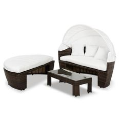 Renava Sunny - Round Patio Day Bed With Retractable Sun Cover Outdoor Beds, Outdoor Wicker Furniture, Patio Furniture Covers, Outdoor Living, Outdoor Spaces, Large Home Office Furniture, Bedroom Furniture, Furniture Design, Swivel Glider Chair