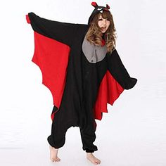 Cruel Bat Negro Polar Fleece Kigurumi Pijamas Pijamas Cartoon Animal disfraz de Halloween 2015 – €18.99