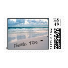 Sunset Wedding Thank You Cards Beach Sunset Thank You Sand Writing Stamp