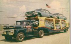 oldtime car transporter