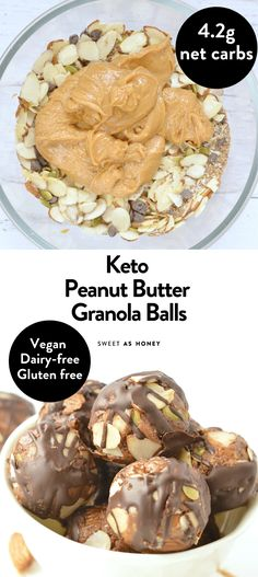 Gluten free meals 497084877625266272 - Keto Peanut Butter Granola Balls Source by lowcarbyum Low Carb Sweets, Low Carb Desserts, Low Carb Recipes, Healthy Recipes, Keto Granola, Peanut Butter Granola, Keto Cookies, Keto Vegan, Comida Keto
