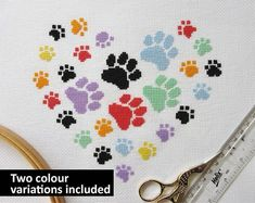 Paw print heart cross stitch pattern, modern gift for dog lover, cat owner, rainbow bridge, pet memorial, girl, boy, baby, animal chart, PDF