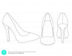 ¿Es hora de diseñar zapatos pero no sabes cómo dibujarlos? Descarga ésta plantilla para diseñar tacones y podrás imprimirla y sobre ella empezar a diseñar.