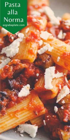 Pasta alla Norma is a fabulous, flavorful dish with a simple tomato sauce and fried eggplant. A lovely vegetarian dish, too!