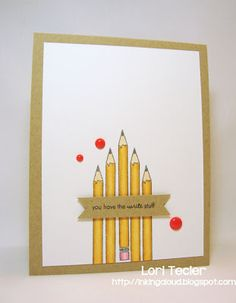 handmade card from Inking Aloud ,,, clean and simple ... arrangement of yellow school pencils  ... CAS(E) this Scetch layout design ,,,