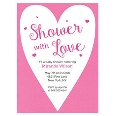 Shower with Love - send a baby shower invite filled with love using the A7 Card Mats-Heart Pinnovation die from AccuCut Craft