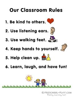 Free Preschool Classroom Rules Printable - New Deko Sites Kindergarten Classroom Rules, Preschool Classroom Rules, Toddler Classroom, Classroom Behavior, Free Preschool, Preschool Learning, Teaching, Classroom Board, Preschool Literacy