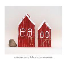 Deko-Objekte - 2 Schweden - Häuschen Holz skandinavisch Schweden - ein Designerstück von uggla-deko bei DaWanda