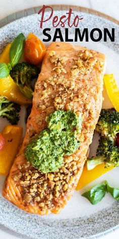 A delicious baked pesto salmon recipe served with roasted vegetables for the perfect healthy meal. This baked salmon recipe has a walnut crust. Best Seafood Recipes, Healthy Salmon Recipes, Healthy Meals To Cook, Healthy Baking, Fish Recipes, Healthy Eats, Delicious Recipes, Broccoli Recipes, Whole30 Recipes