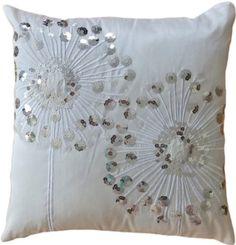 "Amazon.com - Decorative Silver Sequins Dandelion Floral Throw Pillow COVER 18"" White"