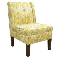 Skyline Furniture Alessandra Wingback Slipper Chair Color: Lemon