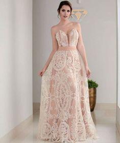 vestido de festa nude com renda