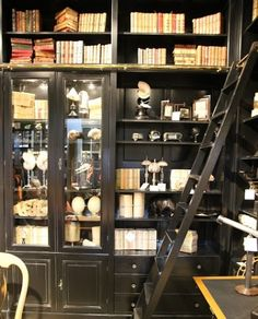 black bookshelf with library ladder - Google Search