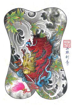 Back Piece Tattoo, Oriental Tattoo, Japan Tattoo, Rubber Rain Boots, Artwork, Tattoos, Color, Design, Waves