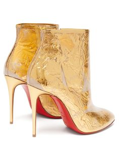 Fans of Christian Louboutin will recognize the 'Trash' technique used to make these gold Booty Cap ankle boots featuring transparent PVC layered over Stiletto Heels, High Heels, Christian Louboutin Heels, Pump Shoes, Women's Shoes, Shoes Style, Gold Leather, Fashion Shoes, Shoes
