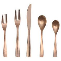 • Stainless steel with a rose gold finish<br>• Durable construction<br>• Great for every day or entertaining<br>• Includes 1 full place setting<br><br>Threshold's Vivian 5-Piece Flatware Set offers simple yet elegant style for your tablescape. With its modern shape, this rose gold flatware gives your meals a contemporary vibe.