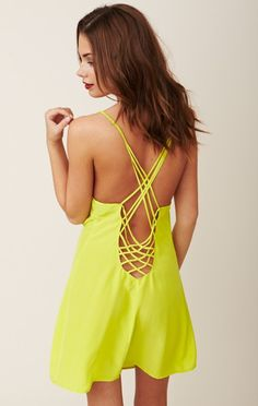 Neon yellow straps dress