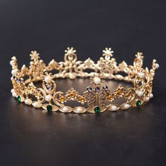 Light gold bridal crown with colorful charming crystals.