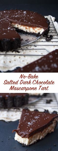 This chocolate tart is made with an Oreo cookie crust, a mascarpone whipped cream filling and topped with a salted dark chocolate ganache. This easy no-bake