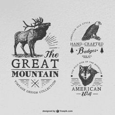 3 retro coat of arms animal vector Logo Vintage, Vintage Labels, Logo Animal, Typographie Logo, Nature Vector, Wolf Design, Retro Logos, Retro Vector, Scratchboard