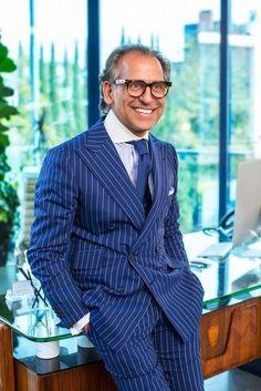 Men's Suits Striped Double Breast Plus Size Suit Blue