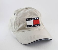 48eea8daf8b Vintage 90 s Tommy Hilfiger Big Logo Flag Baseball Cap    Beige Tommy  Hilfiger Dad Hat with Leather Strapback