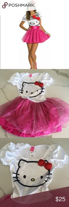 HELLO KITTY ~ Halloween sexy costume dress size M HELLO KITTY ~   Rubies brand Hello kitty  Sexy mini dress  Halloween costume  Sparkle glitter  Hot pink color skirt  White top  Hello kitty print  Stretchy fabric  Red sparkle bow  Tutu style skirt  Size medium  New without tags hello kitty Dresses Mini