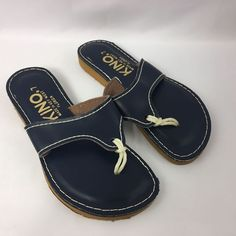 Kino Womens 7 Navy Leather Flip Flop Sandals Shoes Hand Made In Key West Florida #Kino #FlipFlops #Beach