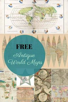 Come on in and join us at A Morning Cup of Joe A Linky Party and Features where you share your latest creations and then enjoy some fun features! Antique World Map, Old World Maps, Old Maps, Antique Maps, World Map Printable, Map Wall Decor, Picture Boxes, Vintage Maps, Vintage Signs