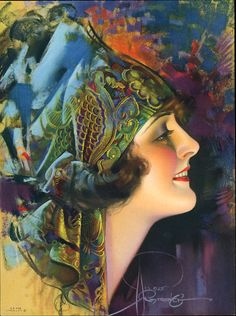 Artist: Rolf Armstrong. I love the way the scarf pattern goes into abstract textures.