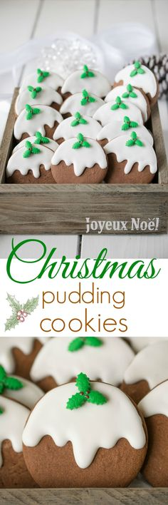Christmas pudding cookies - Chocolate sugar cookies decorated to look like a Christmas pudding.