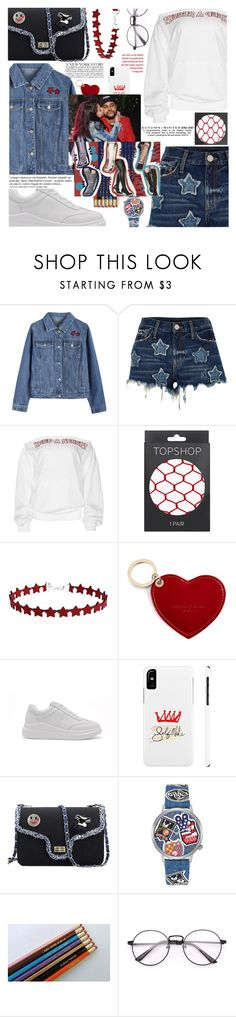 """Types of denim texture,this is fashion lecture!"" by jelena-bozovic-1 ❤ liked on Polyvore featuring River Island, Topshop, Aspinal of London, GUESS, GALA and Anja"