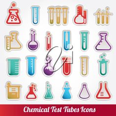 iCLIPART - Clip Art Illustration of Assorted Chemistry Icons - Test Tubes, Flasks etc.