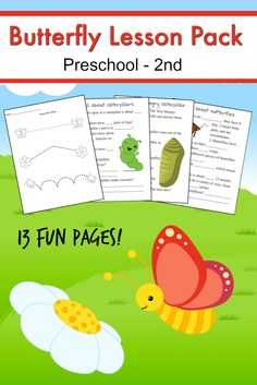 Free printable butterfly homeschool unit study - Ready for spring learning fun? This butterfly homeschool unit is FREE and perfect for ages preschool to 2nd grade!