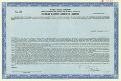 HWPH AG - Historische Wertpapiere - Cathay Pacific Airways Limited,  Specimen eines American Depositary Receipt for Ordinary Shares, Ohne Datum, ca. 1986